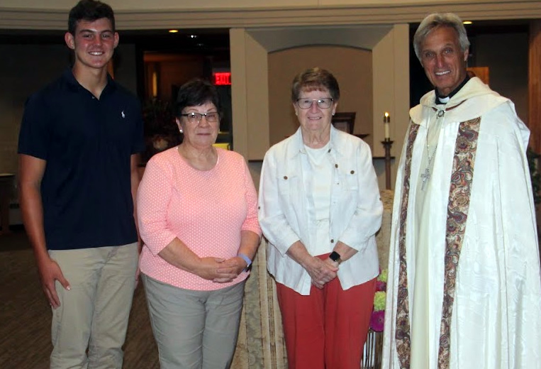 photo of new oblates with Abbot Michael Liebl OSB